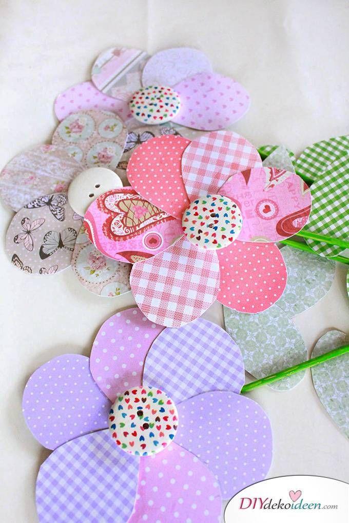 Muttertagsgeschenk - Blumen basteln mit Papier - blumen basteln