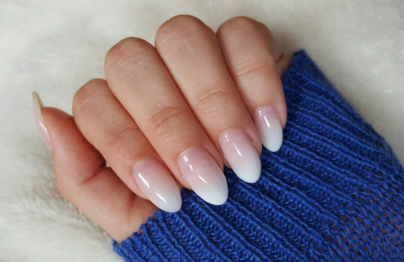French Ombre On Almond Nail Shape With Images Ombre Acrylic
