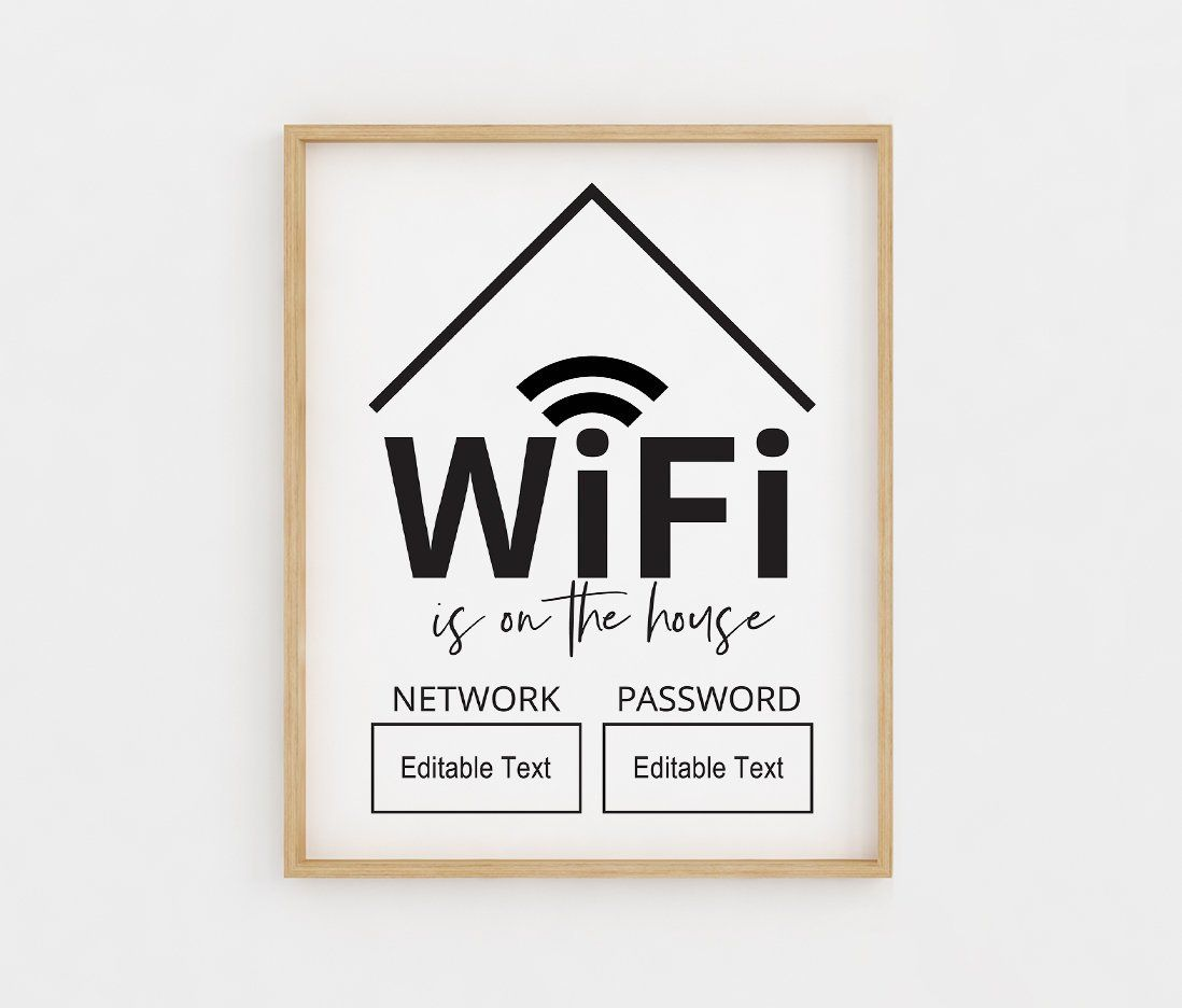 WiFi Password Sign, Editable WiFi Sign Template, WiFi Password