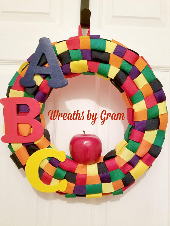 daycare gifts daycare decor teacher gifts abc apple wreath school door hanger education gifts christmas gifts gift ideas classroom door decor