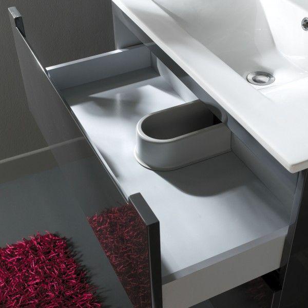 Meuble de salle de bain 80 cm 2 tiroirs Gris Laqué