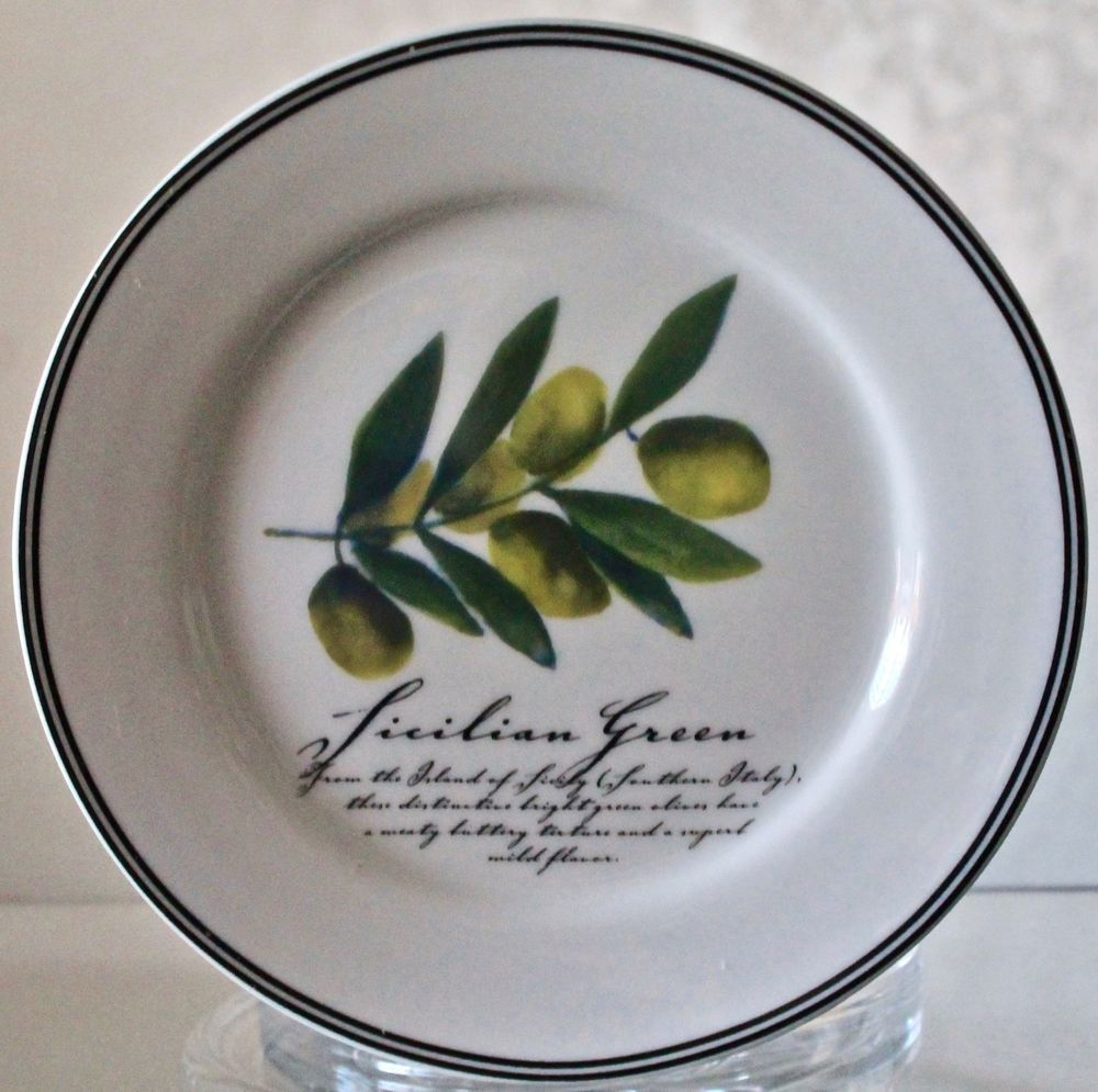 Ciroa Simple Serve Sicilian Green Olives Appetizer Plate Round