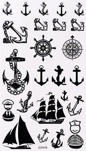 Tatouage Temporaire Ancre Marine Bateaux Voilie Marin 24 Stickers Tatoveringer Tegninger Kort