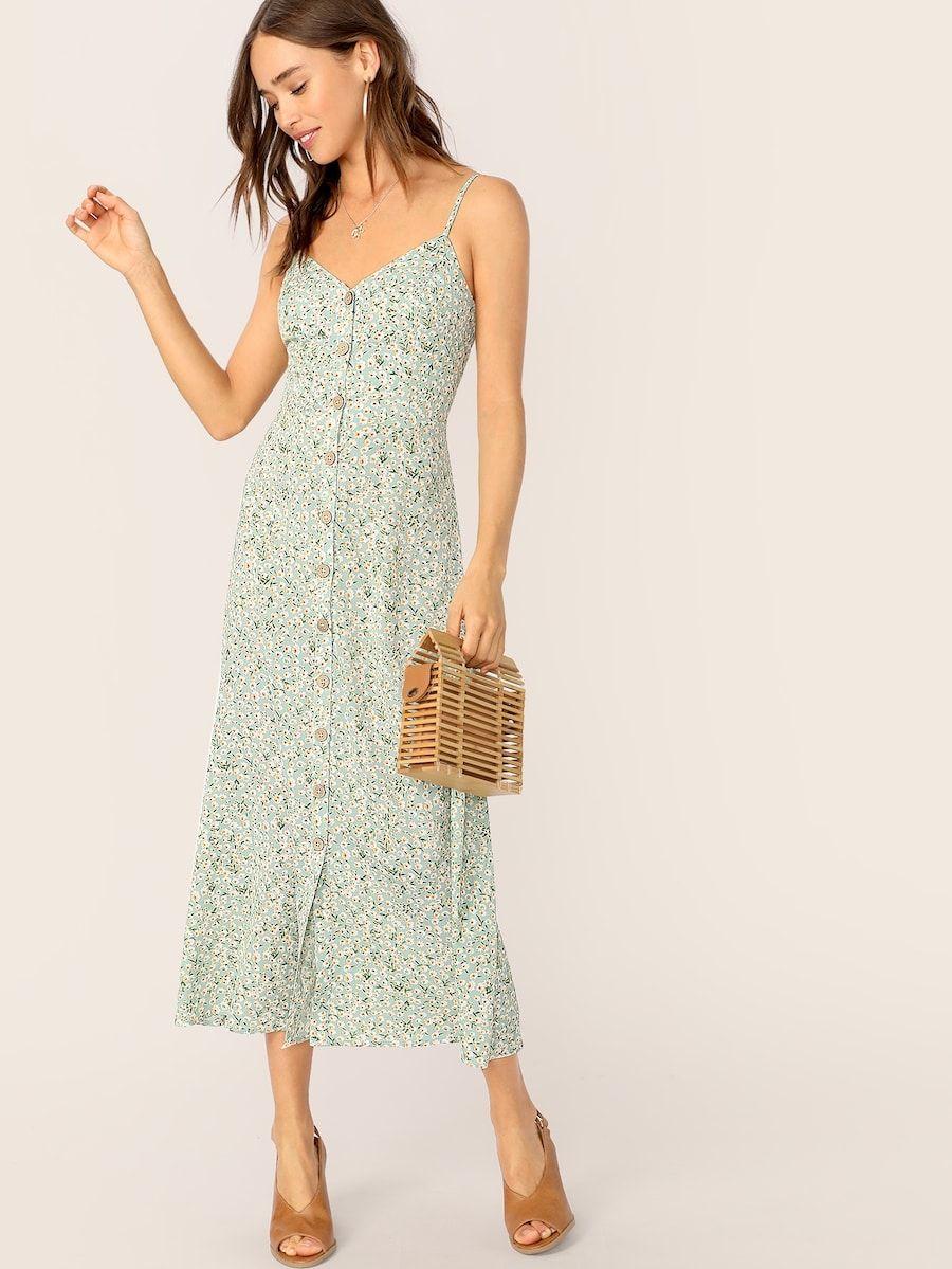 ca8a7003ba Button Front Ditsy Flora Print Slip Dress in 2019 | Shein Haul ...
