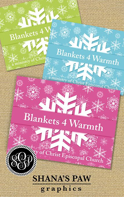 The snowflakes on this ShanasPaw Blanket Drive Card design - clothing drive flyer template
