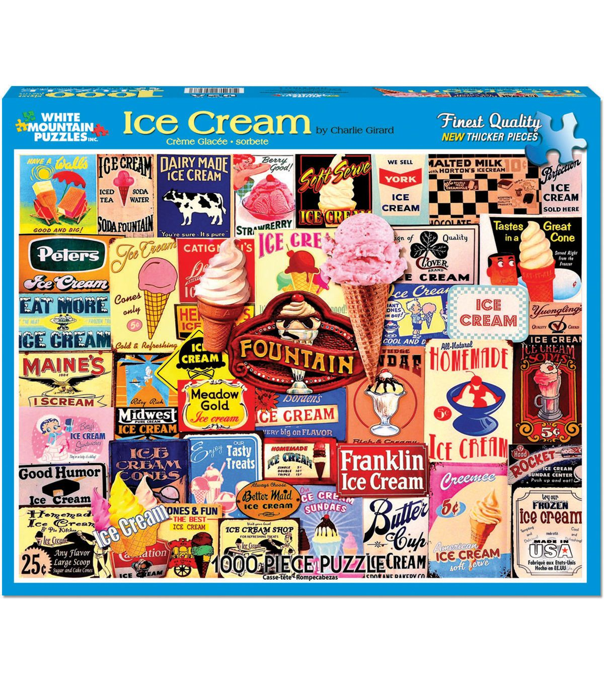White Mountain Puzzles 1000 Pieces 24''x30'' Jigsaw Puzzle-Ice Cream