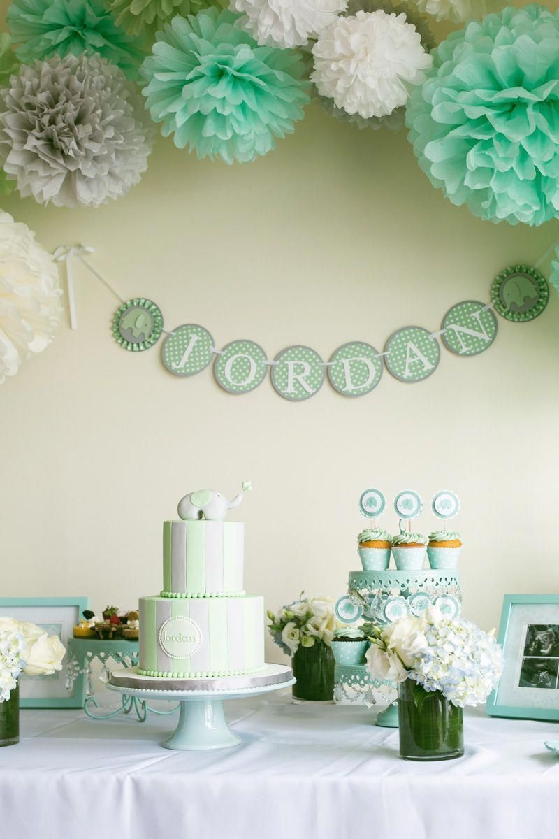 My mint, grey, white and elephant themed baby shower