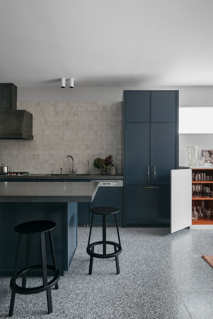 Dark Blue Kitchen Cabinets Terrazzo Floors Tumbled Tile
