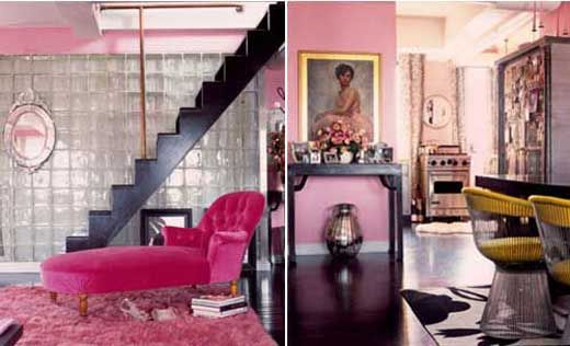 stairs..glass wall...and pink chaise...what more to say