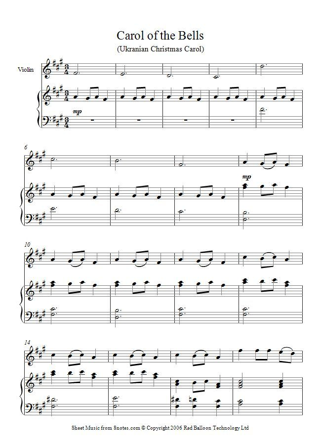 Image Result For Carol Of The Bells Piano 1877 1921 Sheet Music