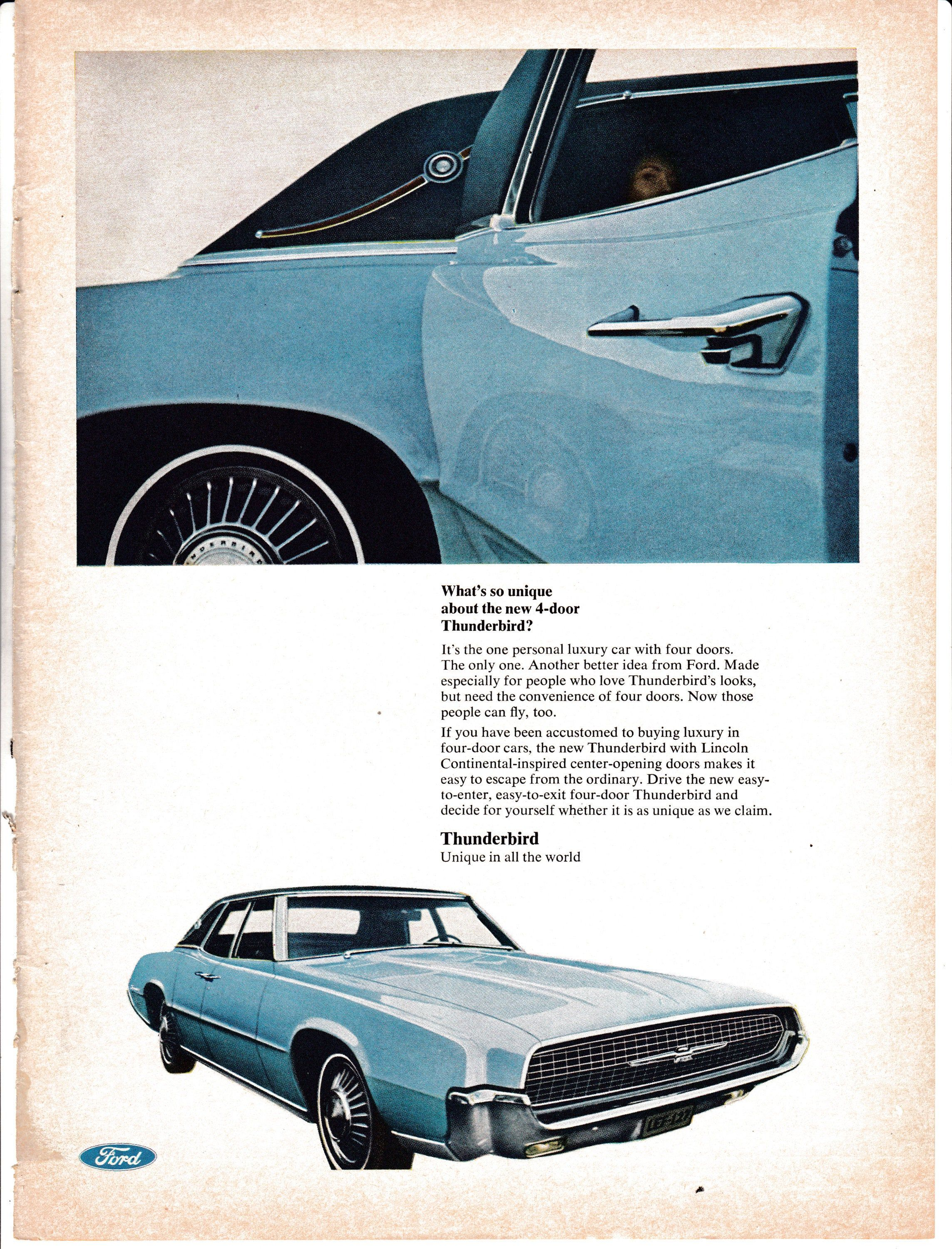 1967 Ford Thunderbird-New Unique 4 Door-Rear Suicide Original Magazine Ad-Auto