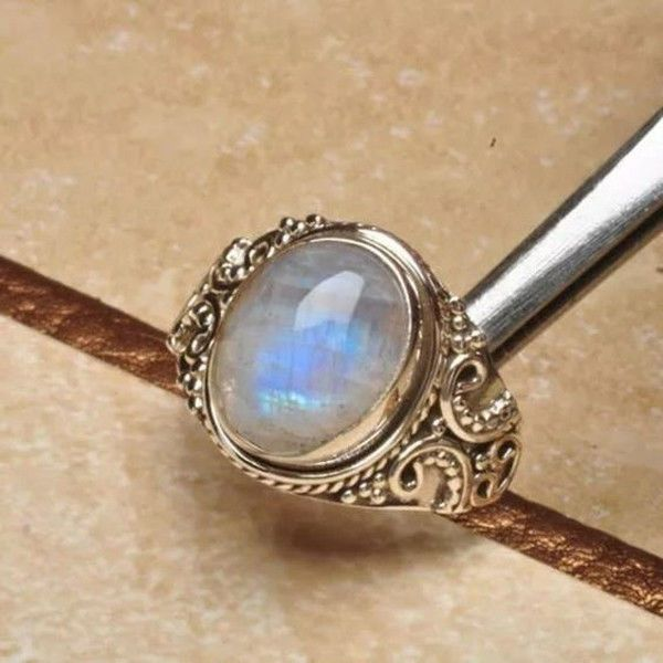 925 BLUE OPAL CABOCHON LADIES HALO FANCY CLUSTER RING ~ size P STERLING SILVER