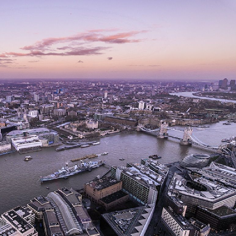 A View From The Shard Building London Bridge Bermondsey South East England Looking North