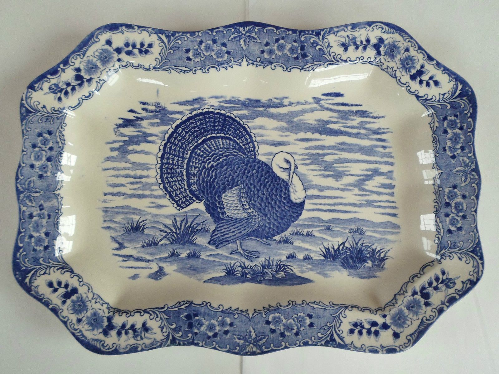 Large Turkey Platter Blue And White 14 3 4 X 20 1 2 Inches Blue And White Turkey Platter Blue Dishes