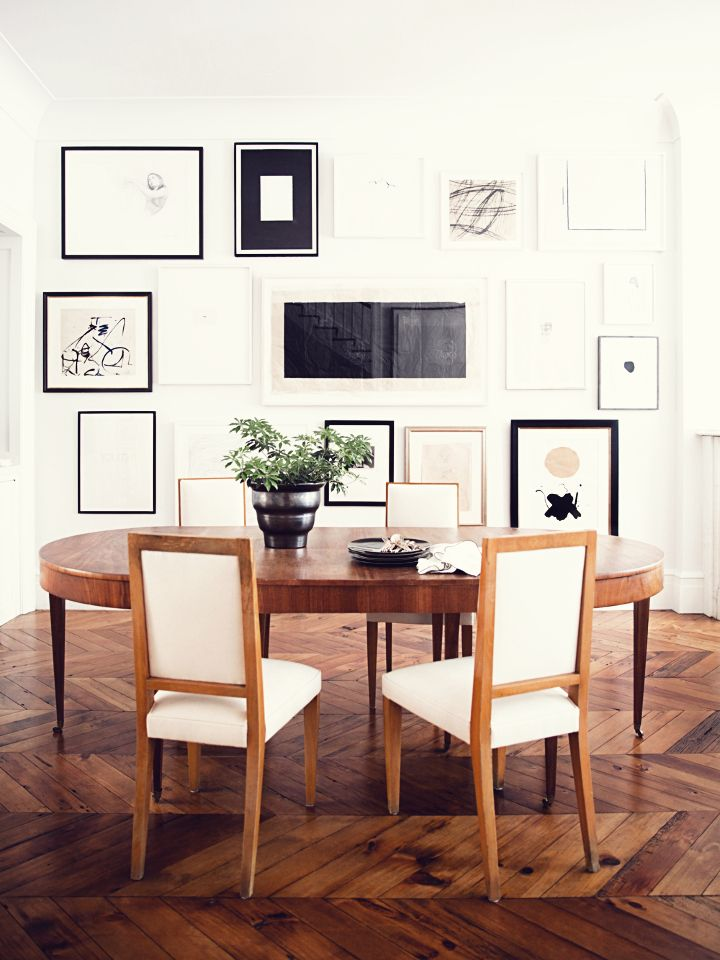 black + white minimalist wall art paired with gorgeous parquet flooring - it's all in the details.