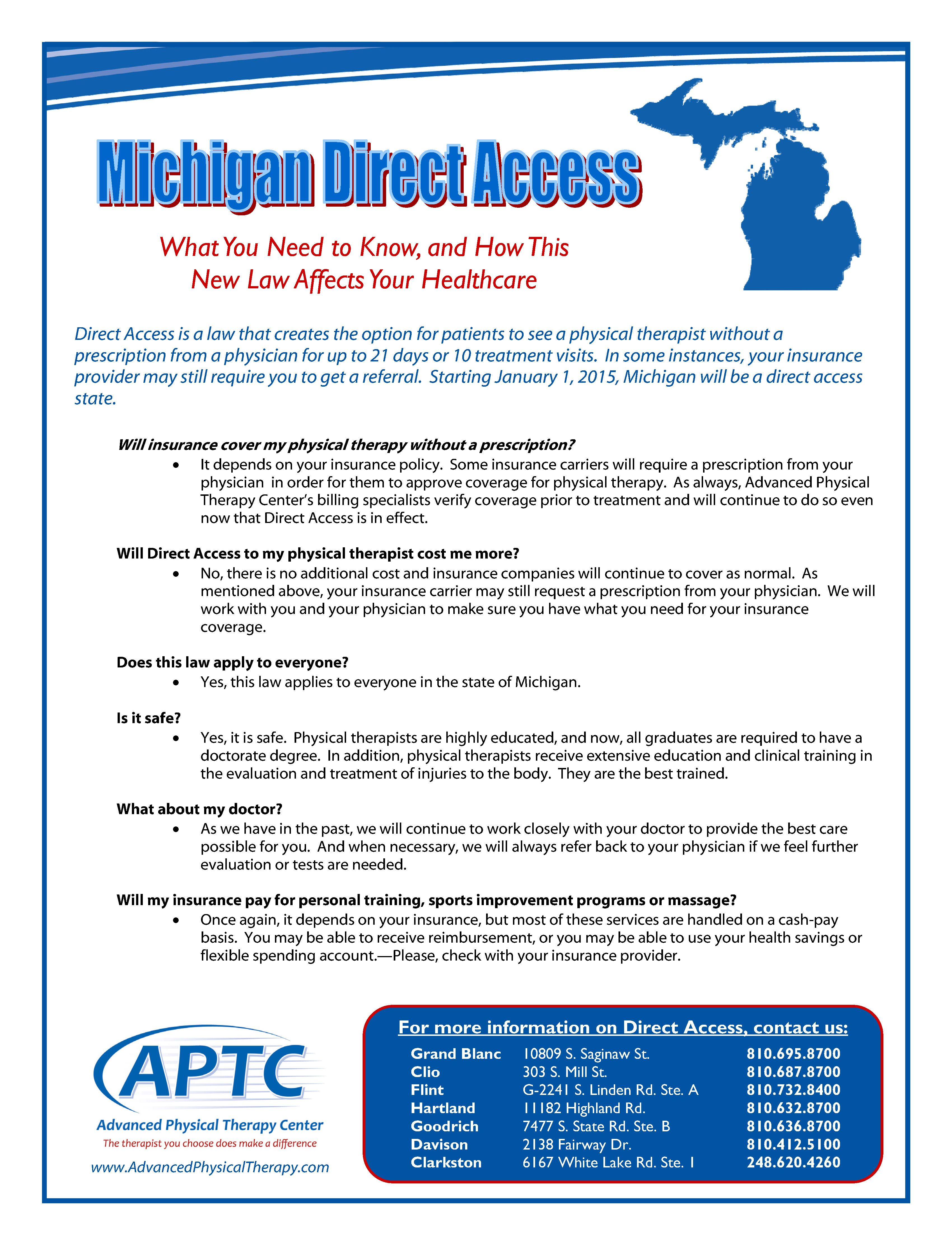 Direct Access For Michigan Is Here Physical Therapy Therapy