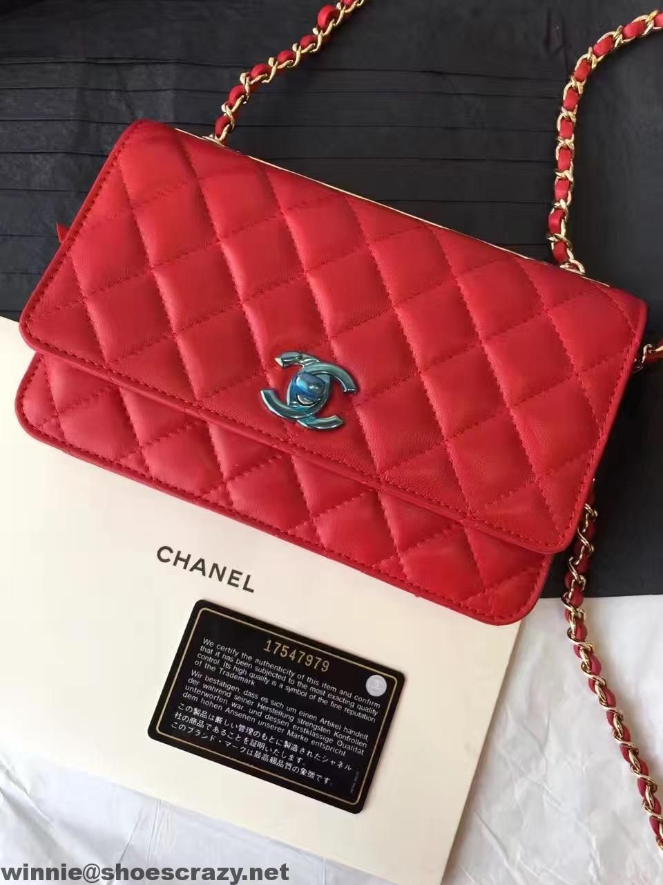 bfaf7e276137 Chanel Lambskin Wallet On Chain With Gold Metal A80982 | My style ...