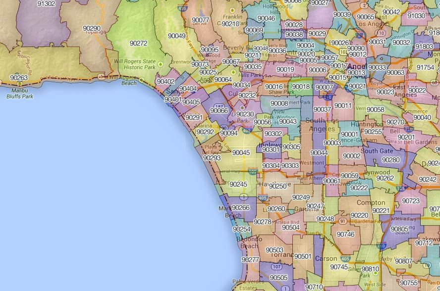 Smaptechnicaimgcarouselusziparea90210: Los Angeles County Zip Code Map At Infoasik.co