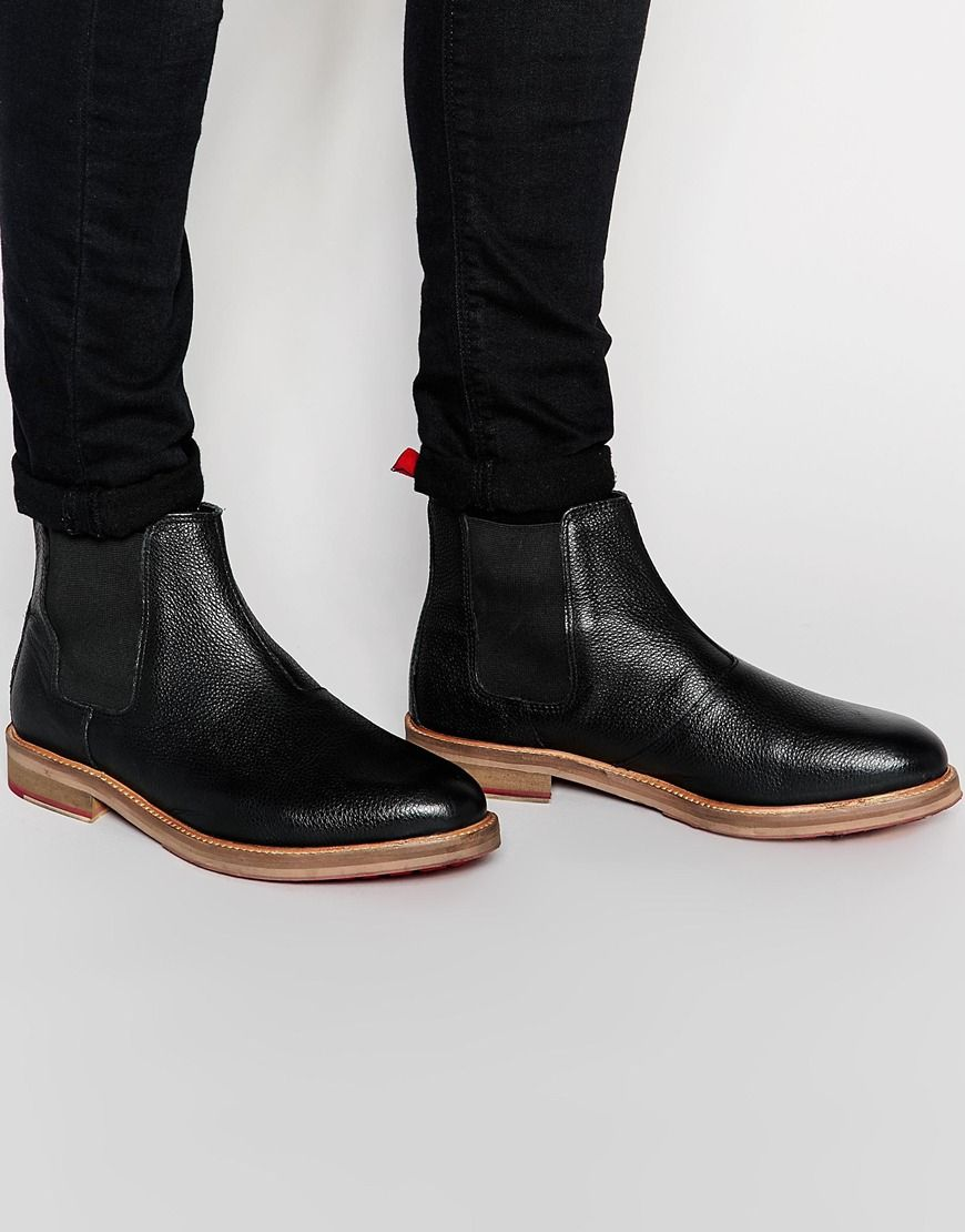 ASOS Chelsea Boots in Black Scotchgrain Leather | Noel 2016 ...