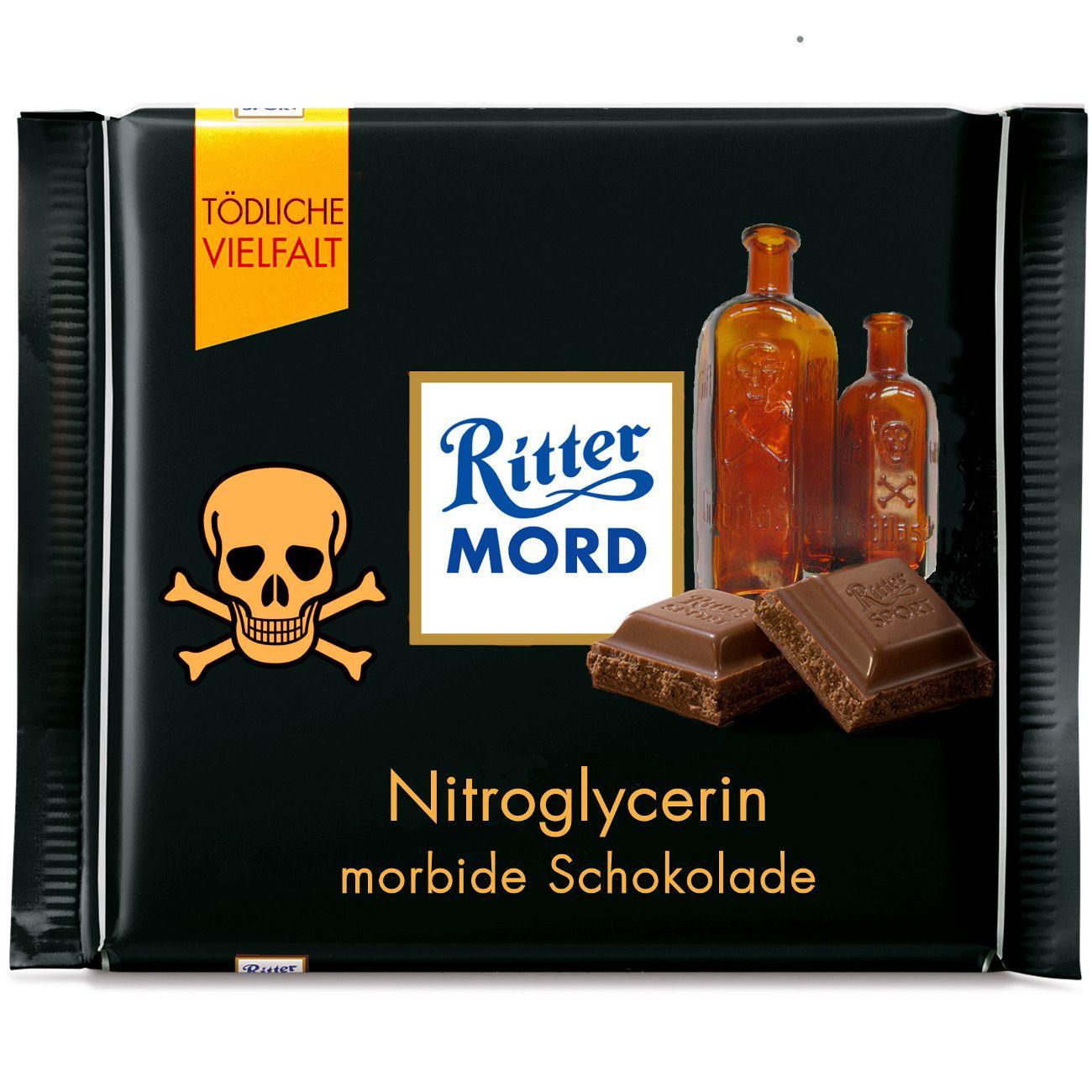 Ritter Sport Fake Sorte Morbid Schokolade Sports Sports Humor