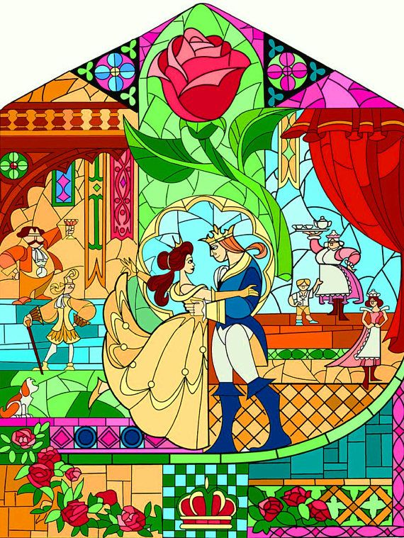 Beauty and the Beast Fairy Tale Stained Glass 108 Cross Stitch Pattern Counted Cross Stitch Chart Pdf Format Instant Download
