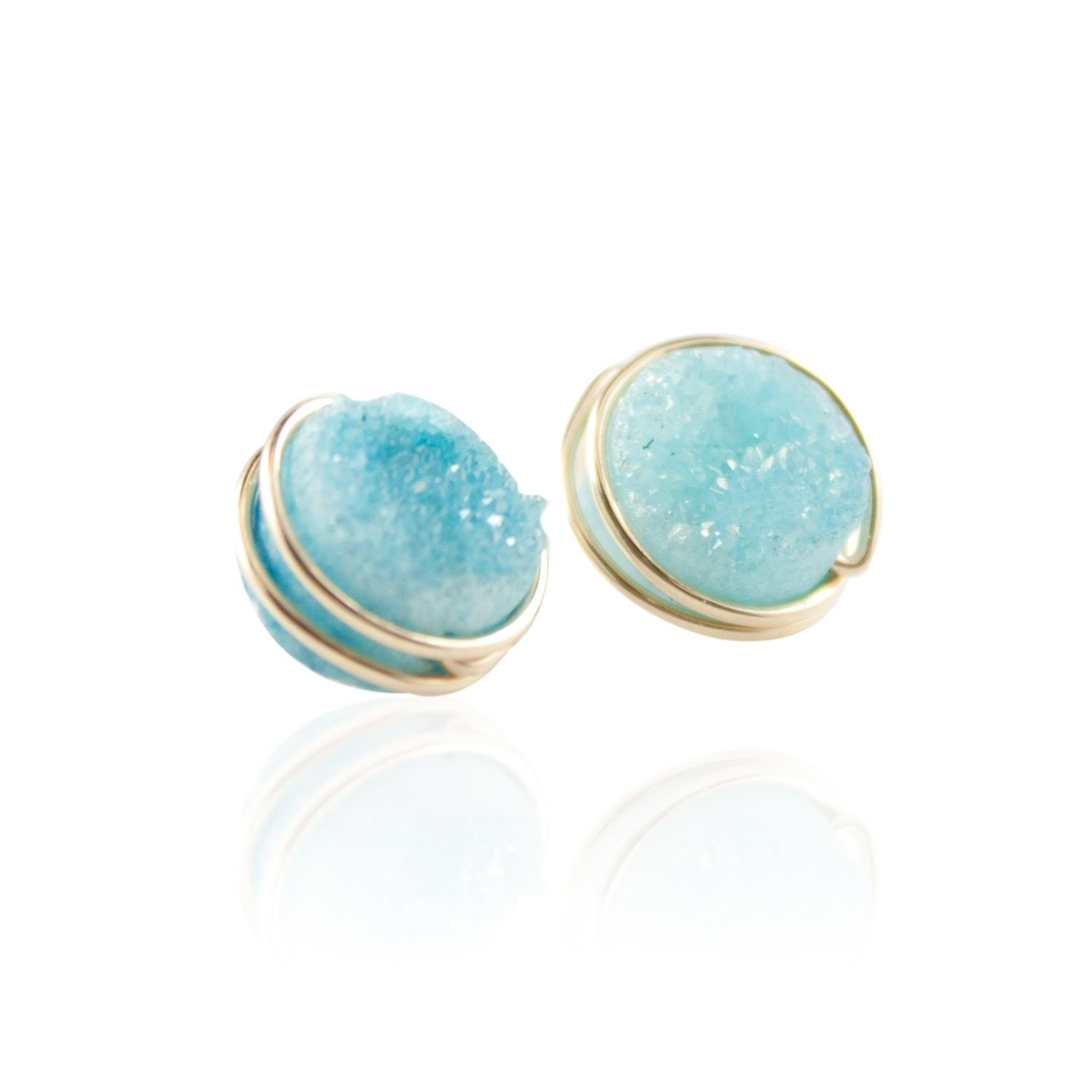 Tiffany S Blue Round Druzy Stud Earrings Wire Wred In 14k Gold Filled