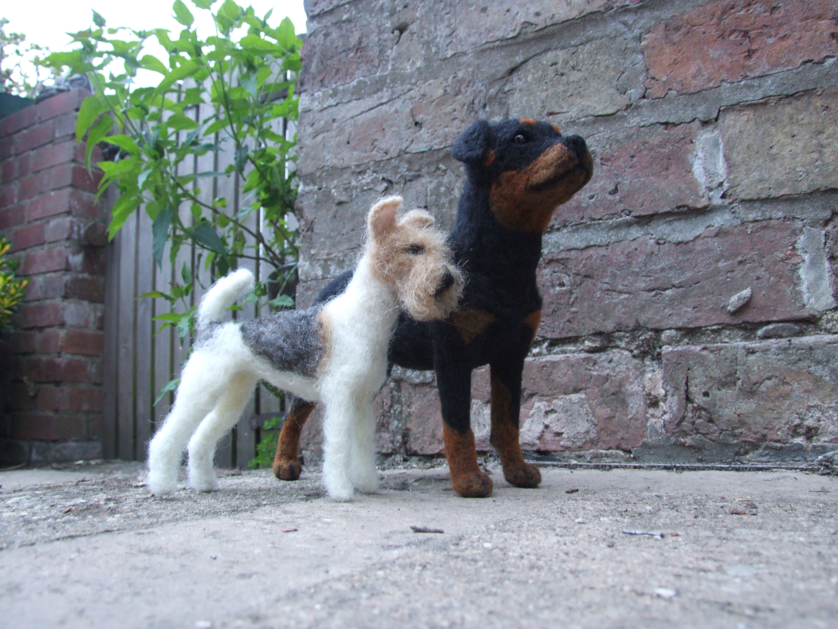 needle felted Fox Terrier & Rottweiler. these two went to Australia ...