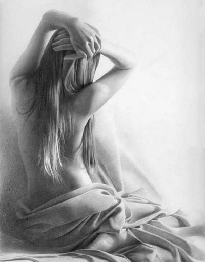 Рисунки девушки со спины в  карандашом