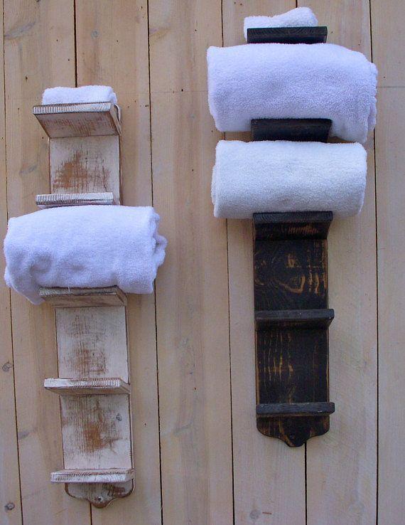 TWO, bathroom towel racks, set of two, towel holder, bathroom shelf, wood towel bar, towel storage, bathroom storage, narrow shelf, handmade   - Impossible triangle -