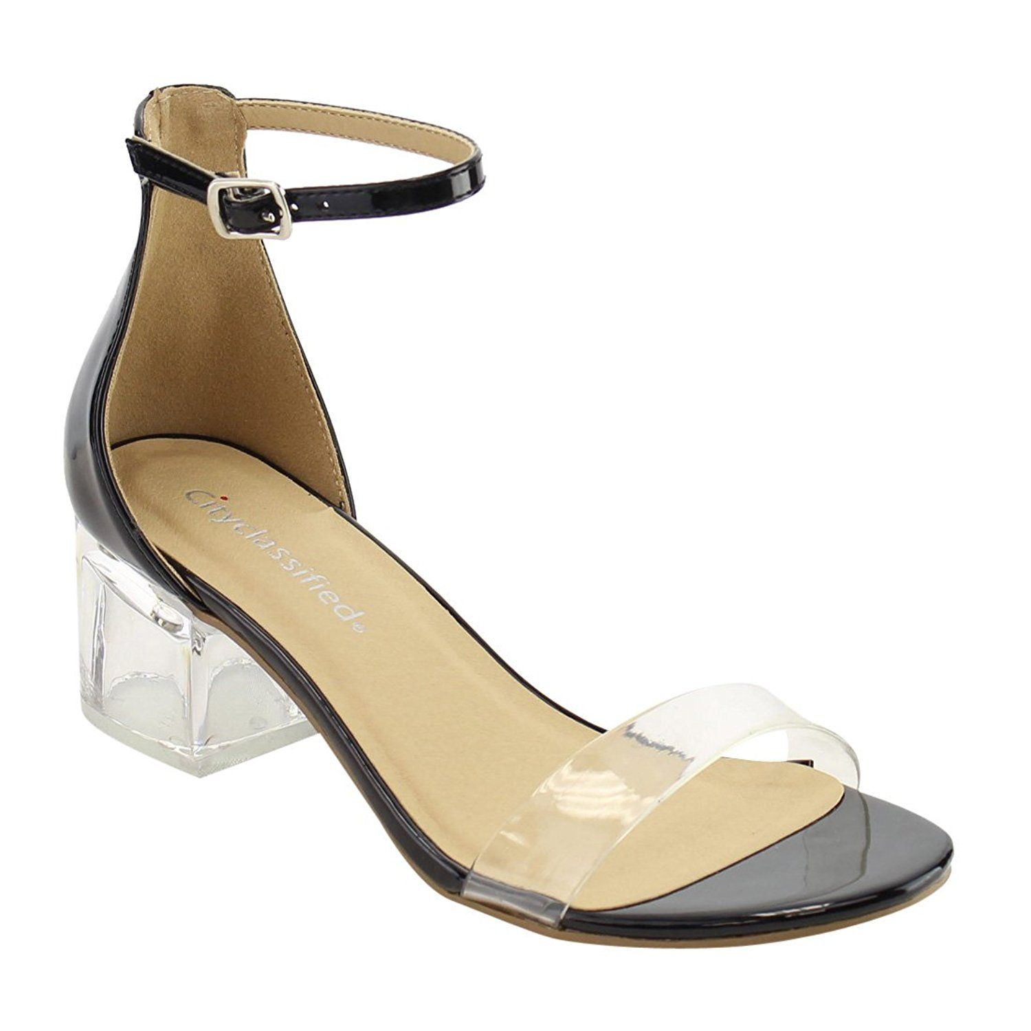 b9c2c081b23 CityClassified IF09 Women Clear Single Band Ankle Strap Lucite Heel Dress  Sandal     You