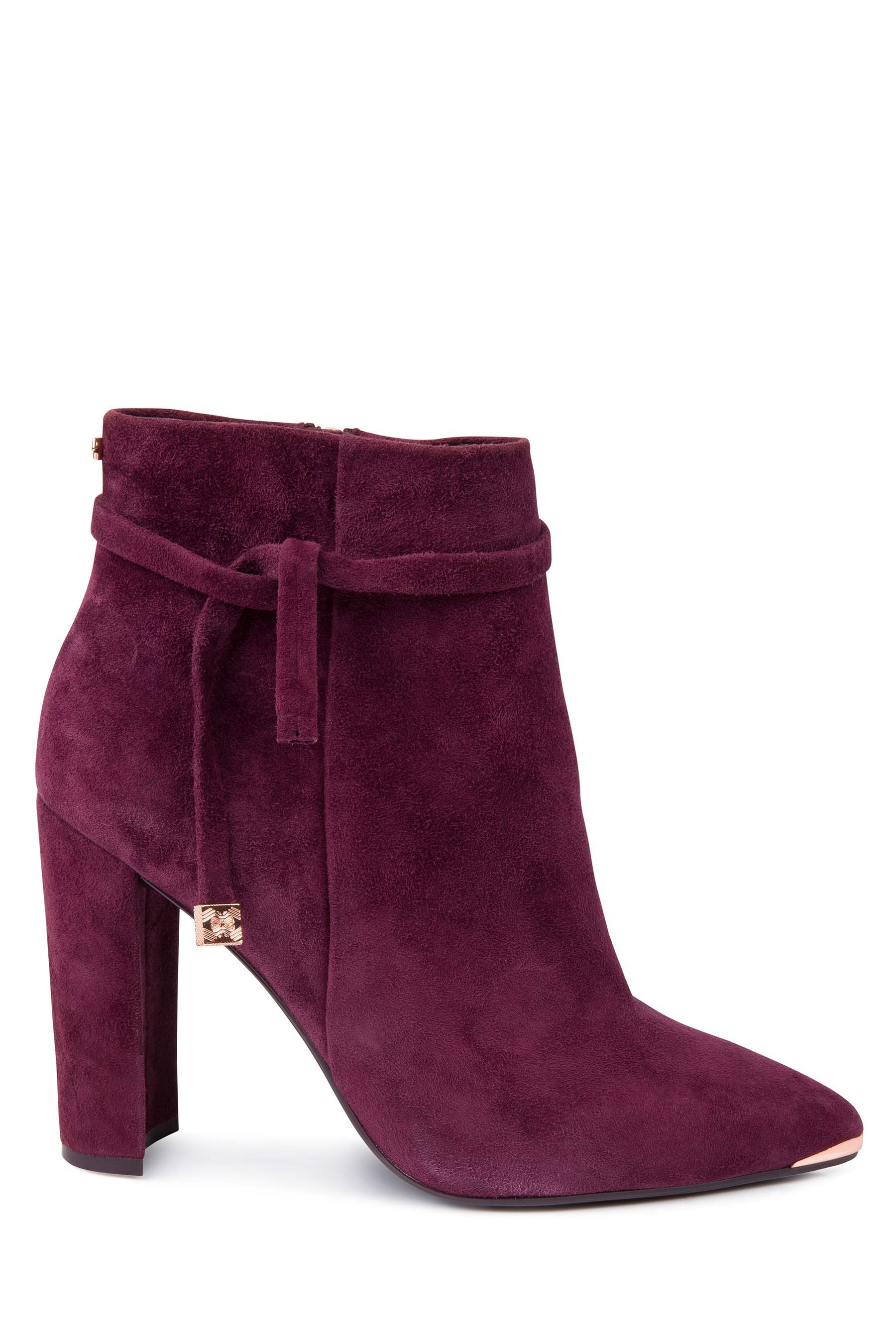 fba305a73cea Womens Ted Baker Burgundy Suede Qatena Block Heel Ankle Boot - Red ...