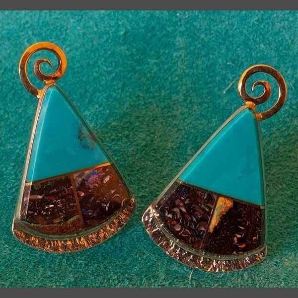 Turquoise Gold Earrings Jewelry by Duane Maktima Native American