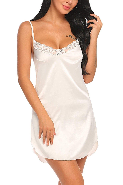 1c6594b57f Women Sexy V-Neck Spaghetti Strap Lace Patchwork Mini Satin Chemise Sleepwear  Nightgown S-XXL - White - CJ189UZKZ6U