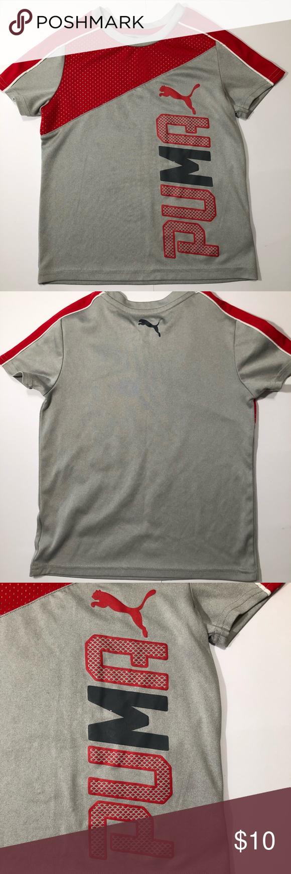 Puma Kids Gray Logo Short Sleeve Tshirt Size 5 Logo