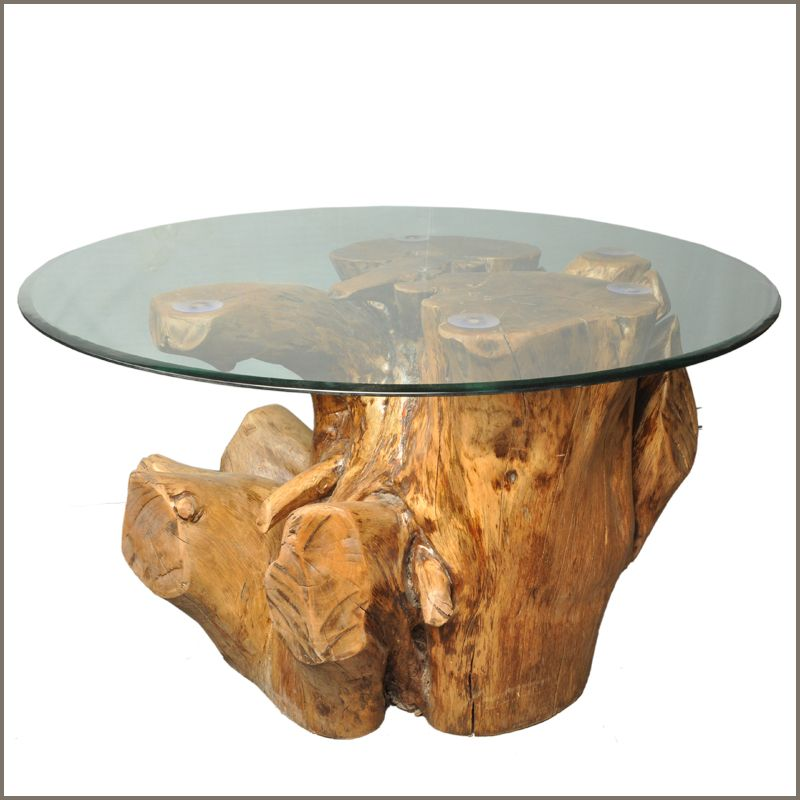 White Tree Stump Coffee Table: Natural Tree Solid Log Wood Stump Cocktail Coffee Table W