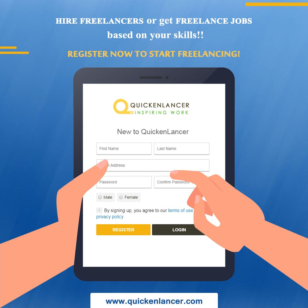 Hire a freelancer or get hired at Quickenlancer! Register