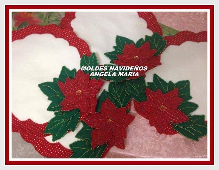 Hermosos individuales navideños en Paño lency  y mostacilla  (facebook-Moldes navideños)