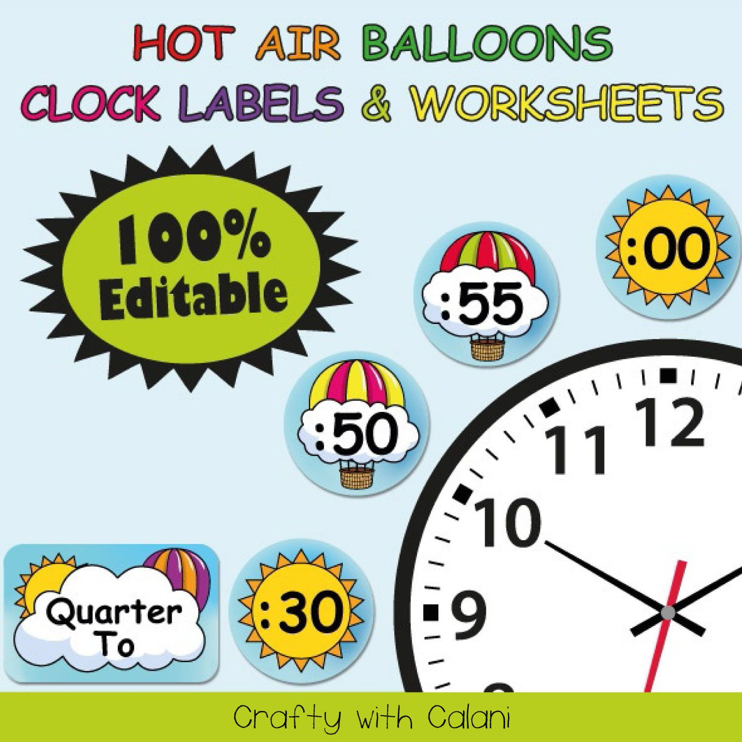 Clock Labels Classroom Decoration Hot Air Balloon