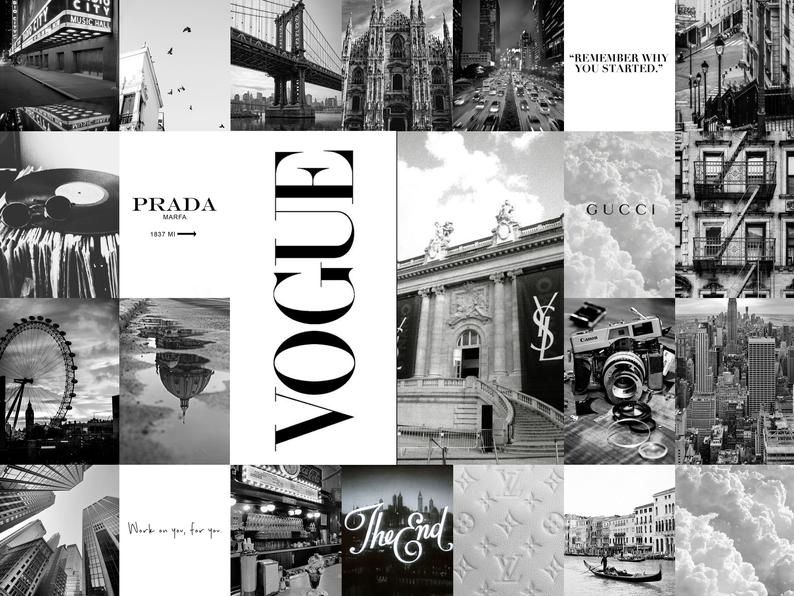 Black and white aesthetic photo wall collage kit - digital download