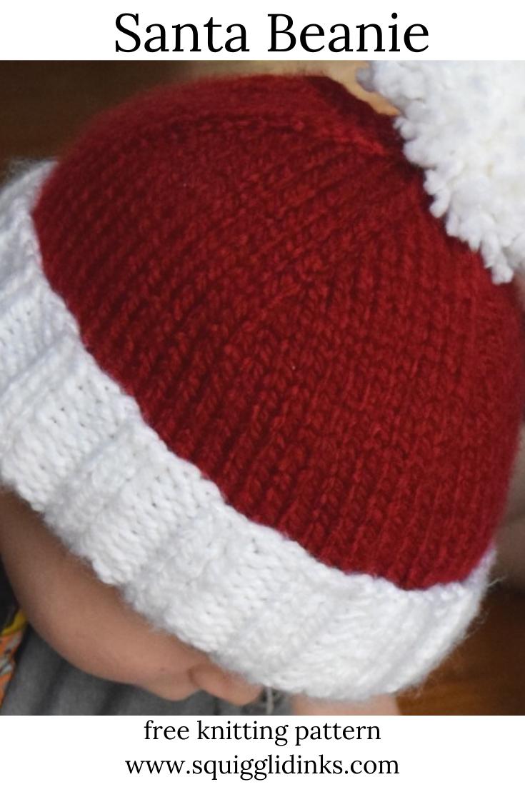 Santa Beanie   Easy knitting, Knitting patterns, Knitting ...