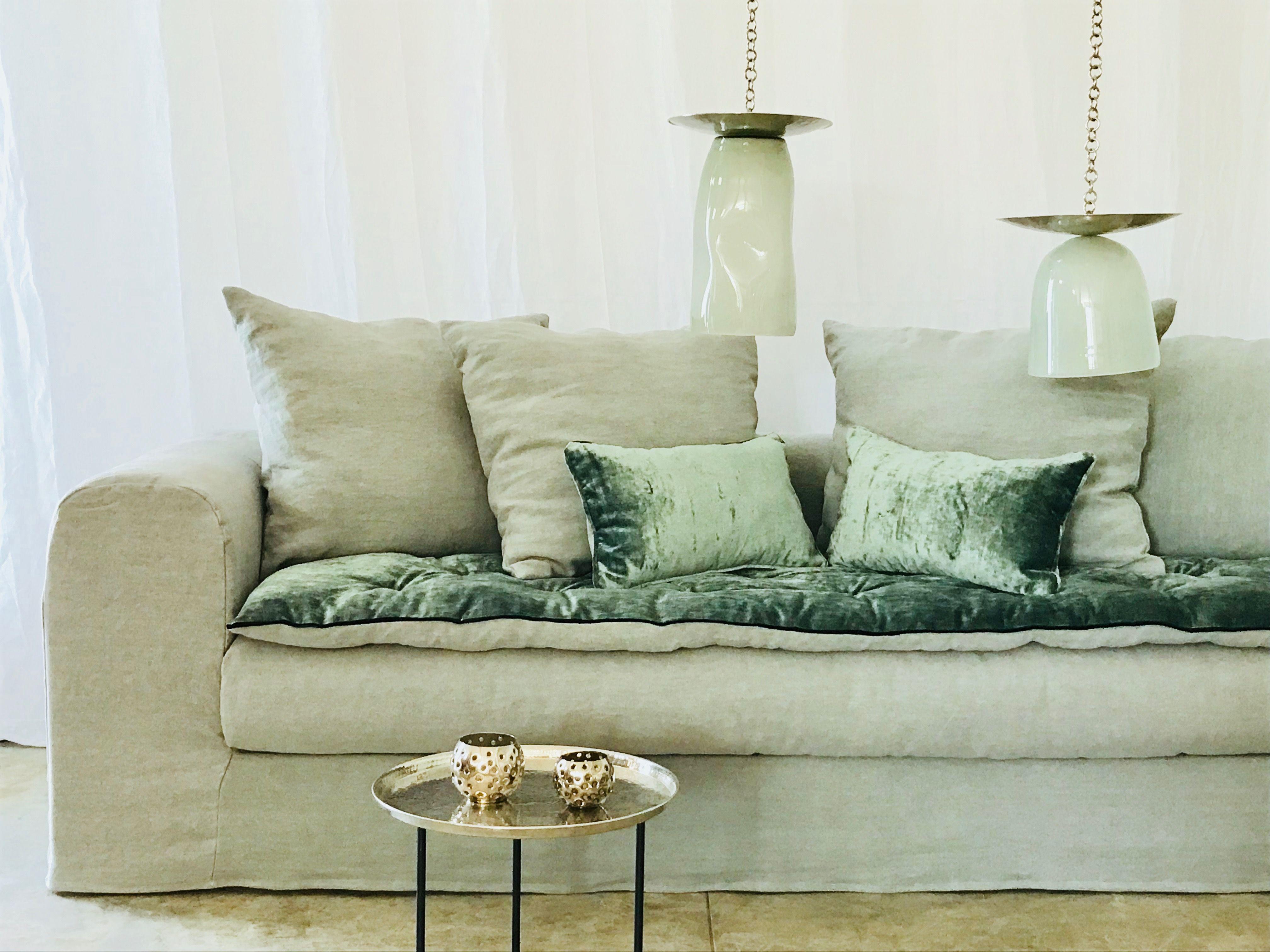 Canape Evoque Lin Lave Vert Sauge Avec Son Sofa Cover Velours Tsar