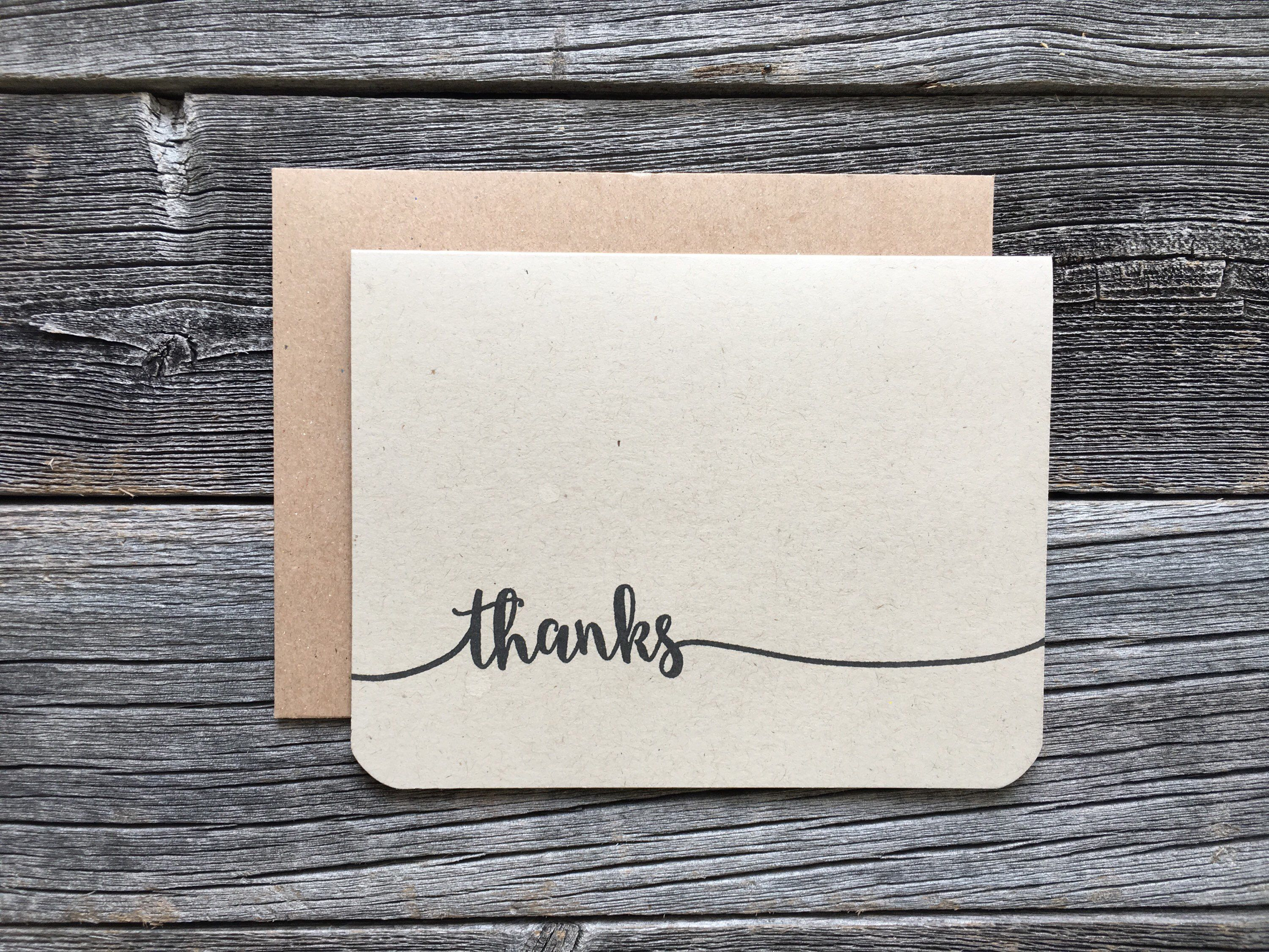 Set Of 5 Minimalist Thank You Cards Handmade Thank You Card Set