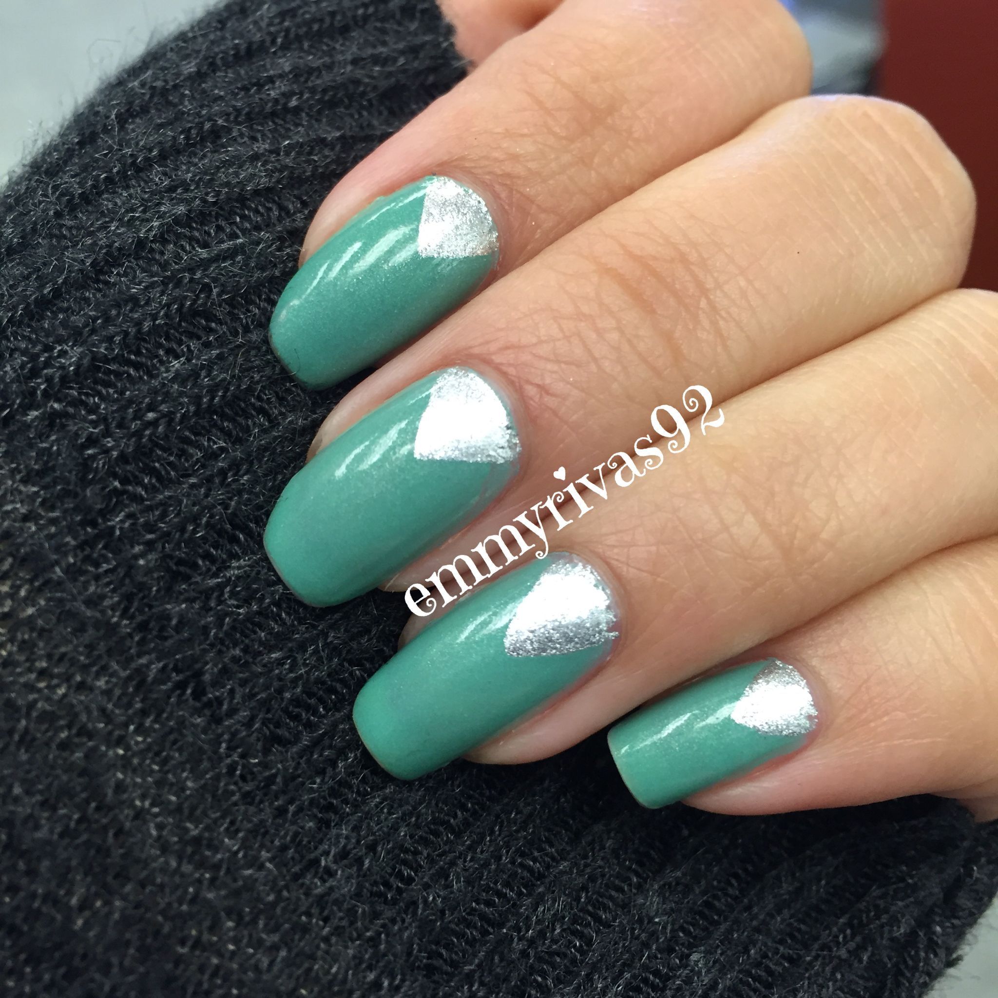Color club, sinful colors, nail art, silver nails, green nails, half ...