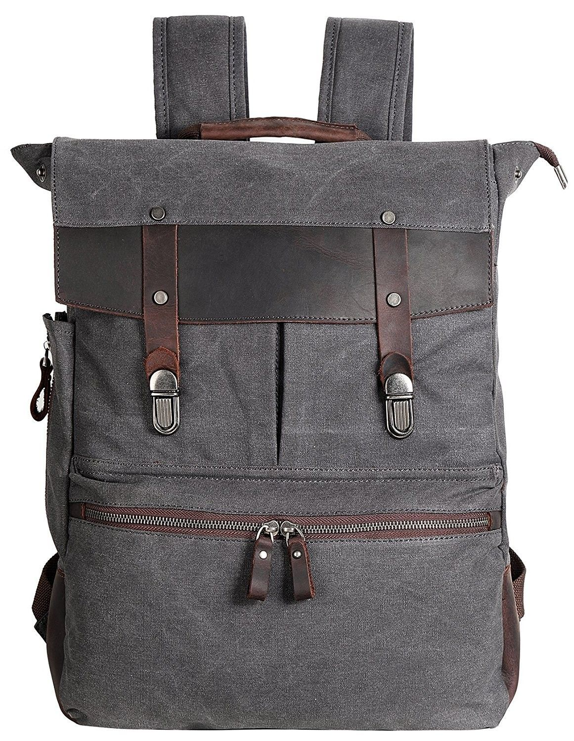 Leather Backpack Vintage Rucksack - M-grey-2018version - CN12JRZRWFV ... 45d7b8f4cee1b