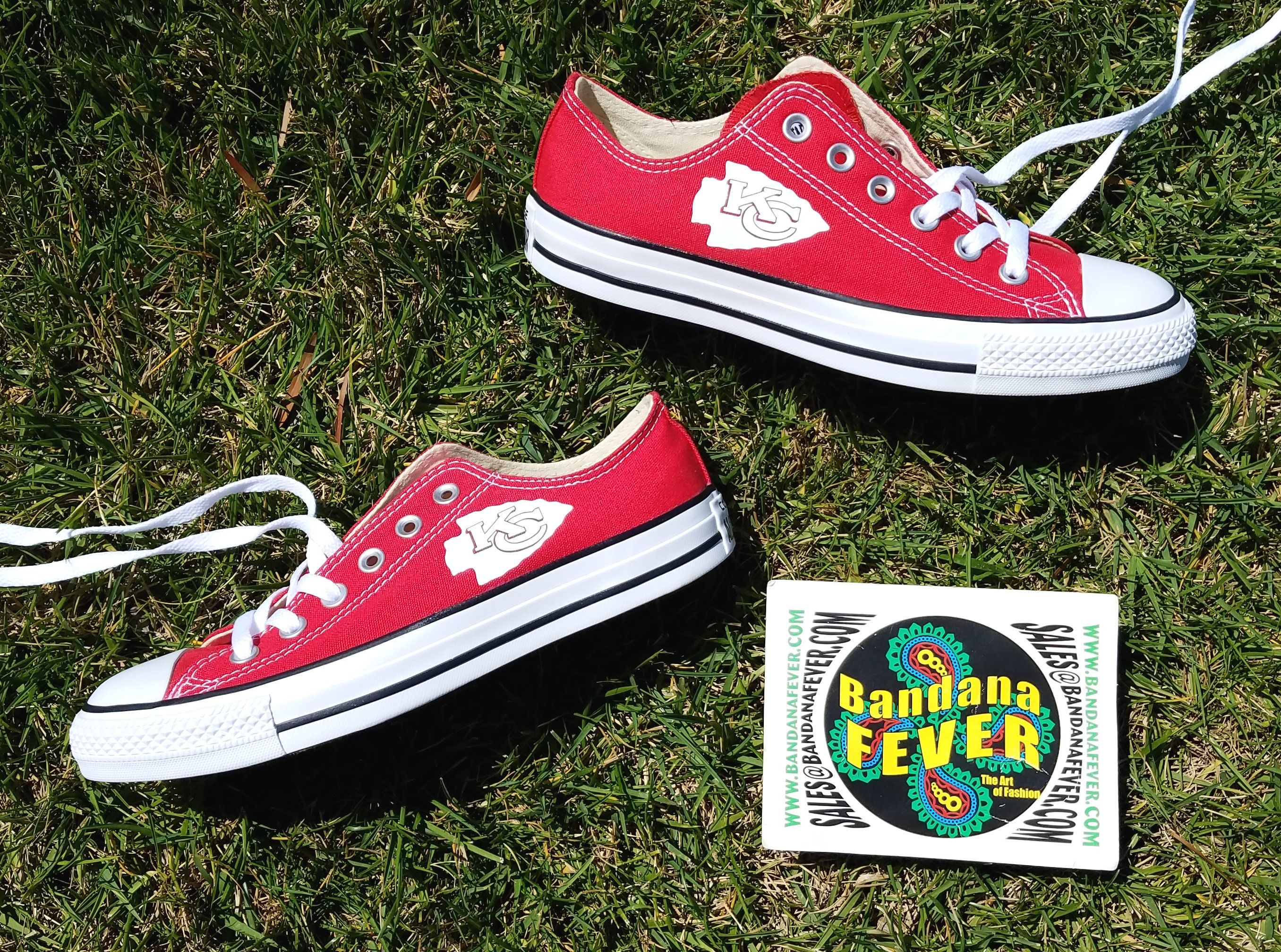 ec5ccbfa3591c6 Bandana Fever Mini Kansas City Chiefs Print Custom Red Converse Low Top  Shoes  sneakers