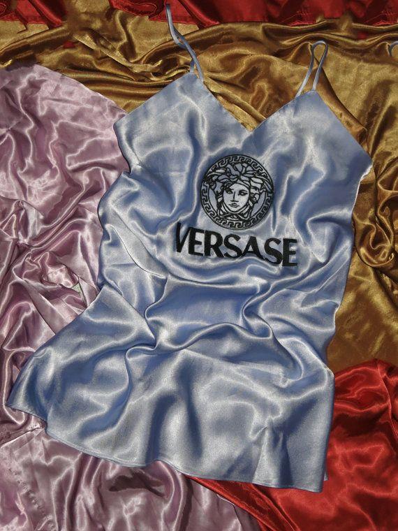 embroidered logo satin dress S