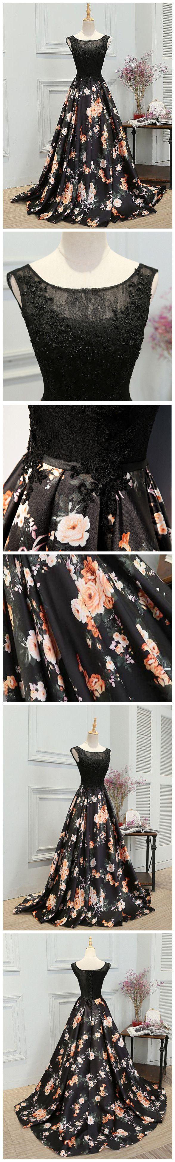 Chic aline scoop satin black lace sleeveless long prom dress