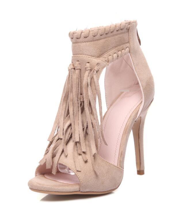 b6dba9db148c Sexy Tassel Open Top Zipper High Heels Sandals
