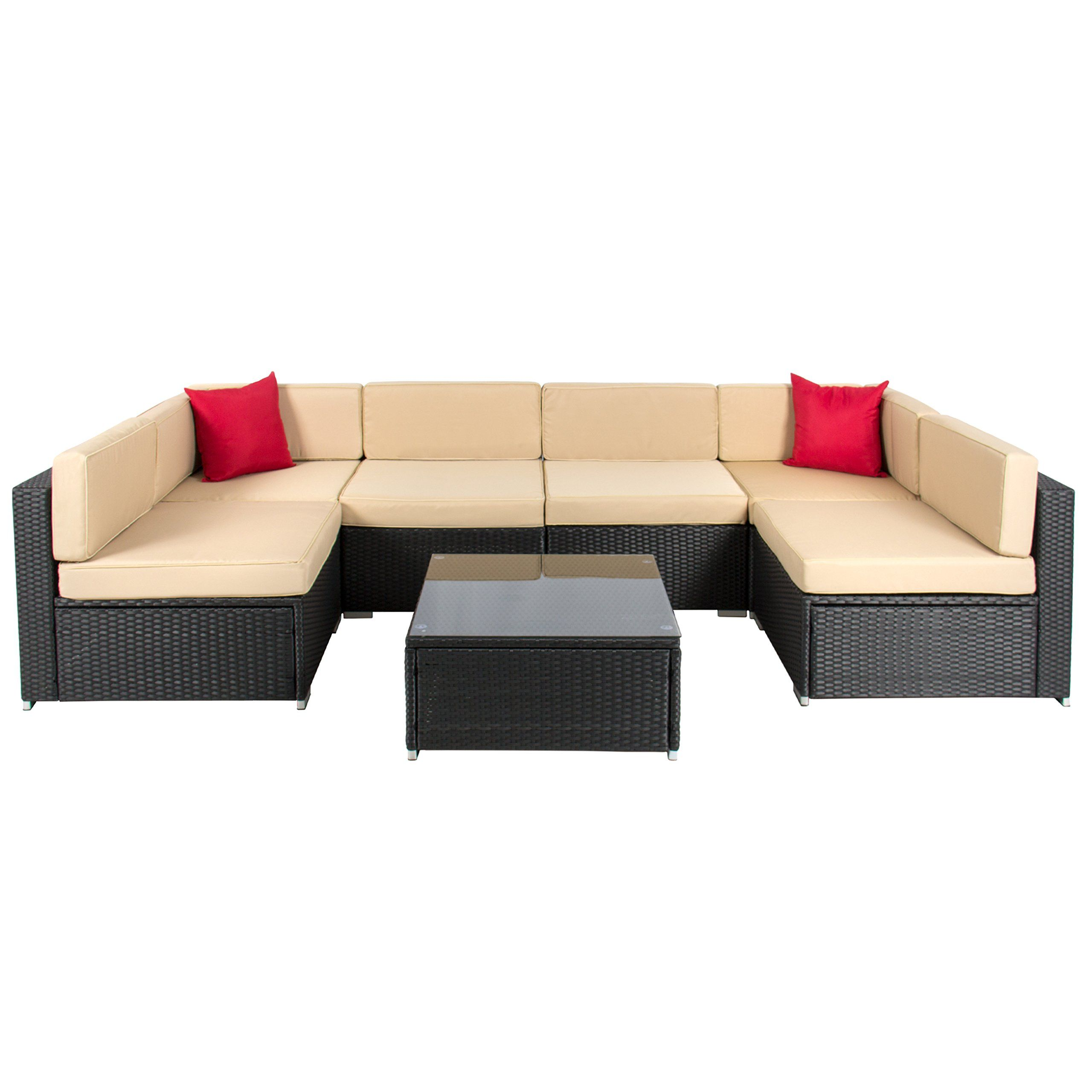 afe0c285edc Amazon.com   Best ChoiceProducts 7 Piece Outdoor Patio Garden Furniture  Wicker Rattan Sofa Set Sectional