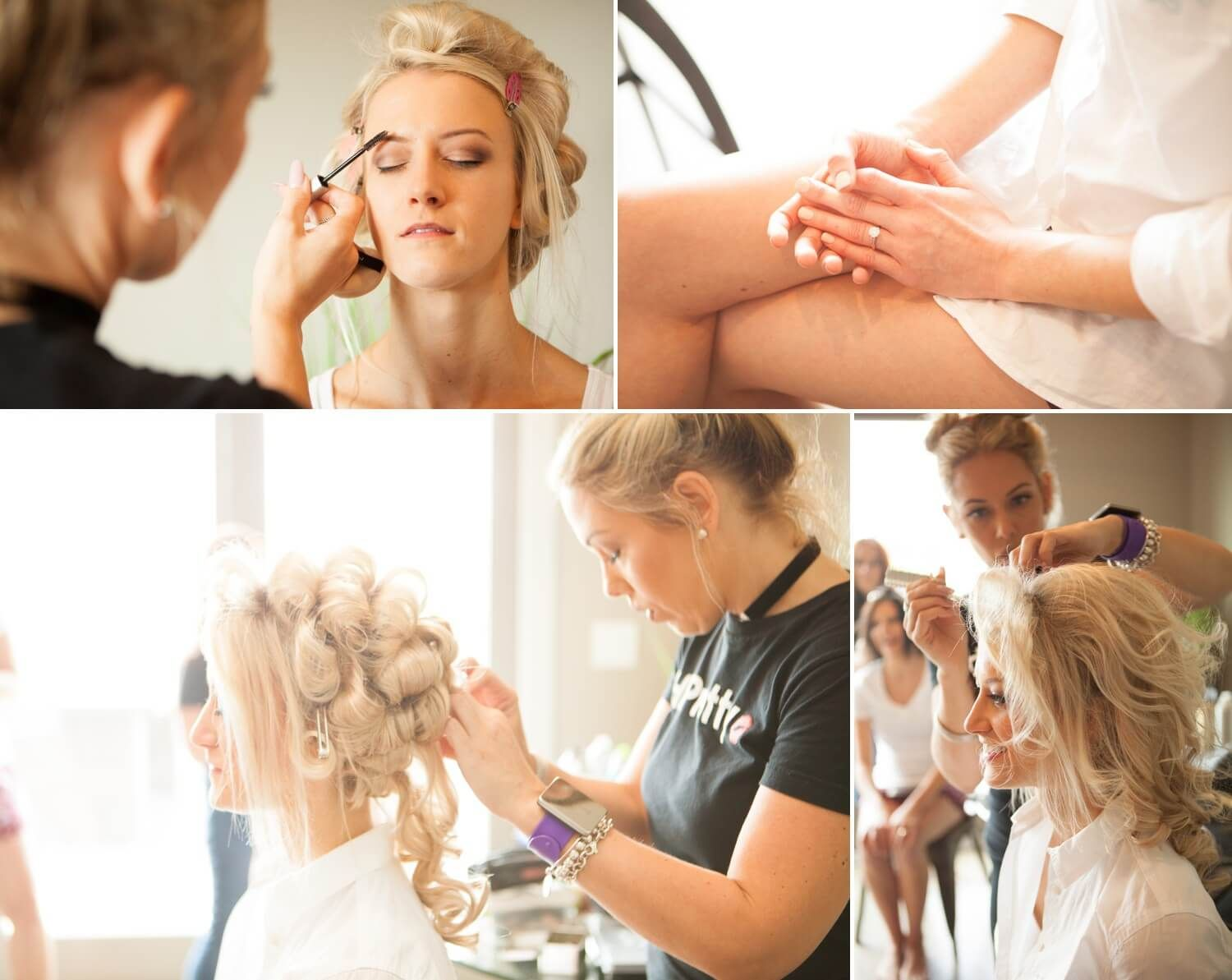 nashville, tn weddingbride gets hair and makeup with